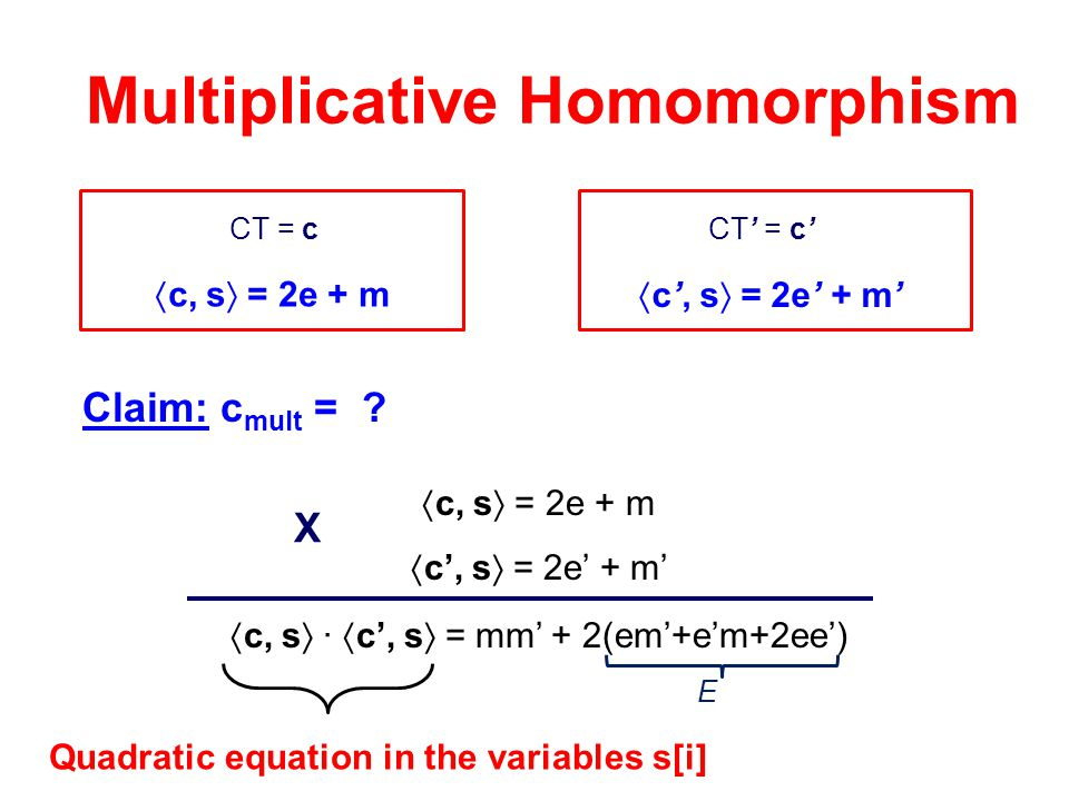 Multiplicative Homomorphism Quadratic equation in the variables s[i]
